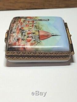 Vintage Signed Peint Main Limoges France Postcard Florence Italy Trinket Box