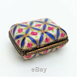 Vintage Traditional Rectangular Limoges Porcelain Trinket Box with Rose Motif