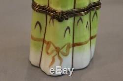 Vintage large Limoges Asparagus hand painted trinket box, signed Rochard Reduced