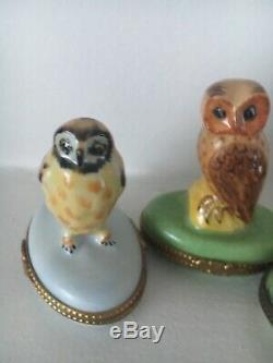 Vintage limoges peint main owl owls trinket box 3 Porcelain boxes RARE France