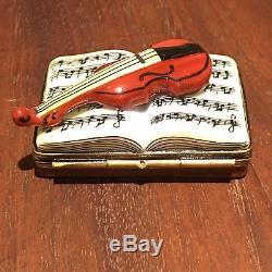 Violin On Music Sheet Book Trinket Box from Limoges France