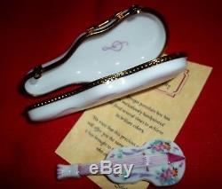 Violin-shaped Limoges Romantic Melodies Porcelain Box, Mint