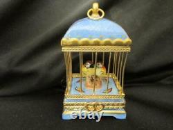 Vtg Limoges Love Birds You & Me Hearts Pein Main France P. Vielle Trinket Box