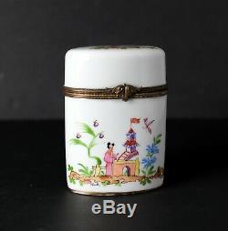 Vtg Limoges Porcelain Trinket Box chinoiserie scene, Peint Main For Saks 5th Ave