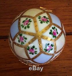 Vtg Lrg Limoges France Limited Ed Jacques Peint Main Porcelain EGG Trinket Box