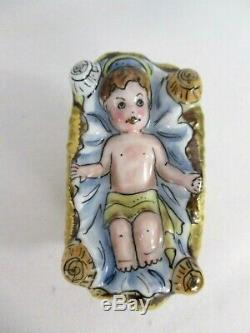 Vtg Rochard Limoges France H/painted Christmas Nativity Baby Jesus Trinket Box